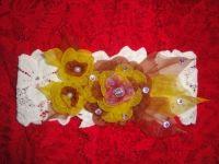 Красивые и нарядные украшения для маленьких леди. Красивые цветы канзаши, смотрятся празднично и могут подойти к любому наряду. Каждый заказ обсуждается индивидуально и выполняется в максимально короткие сроки. Цветок сделан на повязке (ажурная стрейчевая ткань) из органзы, по индивидуальному желанию можно сделать под заколку, обруч и т.д. Размер повязки 42см.