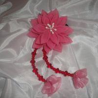 Красивые и нарядные украшения для маленьких леди. Красивые цветы канзаши, смотрятся празднично и могут подойти к любому наряду. Каждый заказ обсуждается индивидуально и выполняется в максимально короткие сроки. Цветок сделан на резинке, по индивидуальному желанию можно сделать под, обруч, гребешок, заколку крокодил. Размер 8х20см. Длина висюлек (сделаны из бусин) 12см.
