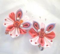 Бабочки (канзаши) №9 на заколке клик, 2шт.