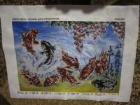 """""""9 карпов- талисман удачи и благополучия"""", картина вышита чешским бисером, без оформления в багет"""