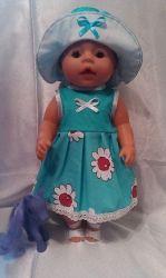 Одежда для кукол BABY BORN.Подходит для кукол-пупсов ростом 40-43см.Вся одежда выполнена вручную из натуральных качественных тканей,что позволяет стирать и гладить одежку!Высокое качество исполнения работы порадует Вас и Вашего ребенка.Каждая девочка будет рада такому подарку.Платье+шляпа+босоножки