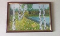 Картина написана гуашью на специально предназначенной для этого бумаге. Рамка со стеклом.