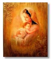 Матеріал: сосна. Обпалювання, брашування, вживлення зображення, акрилові фарби, техніка зістарювання, фінішний   віск.Найпоширенішим типом богородичних ікон є так звана одигітрія (з грецької та, що вказує шлях, дороговказниця). На іконах цього типу Діва Марія тримає Дитину Ісуса на руках, вказуючи на Нього як джерело спасіння для людства. Голова Діви, як правило, схиляється до Дитини, яка тримає підняти руку в жесті благословення. У католицькій церкві цей тип ікони іноді називається Богоматір