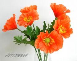 Красочный, яркий букет из 7 маков.   Размеры: высота цветка 49 см, диаметр 10 см. Количество цветов в букете по желанию   Чистка сухой кистью.  Цена указана за 1 шт.