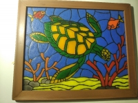 Черепаха картина витражного типа.