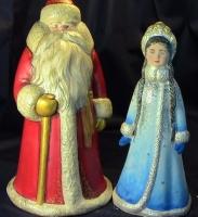Керамические фигуры,с уникальной авторской ручной росписью.Идеальный подарок к Новому Году!Дед Мороз (24х13 см) Снегурочка (21х10 см).