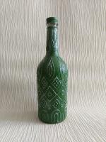 """Декоративная бутылка ручной работы """"Зеленый орнамент"""""""