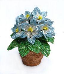 Цветы из бисера и проволоки. В горшочке 9 цветочков. Высота 15 см