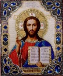 Икона Исус Христос бисером