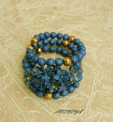 Браслет темно-синий с золотом