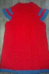 Теплая и нарядная туника для девочки 2-3 лет. Нитки акрил.Возможны разные варианты расцветок и моделей.