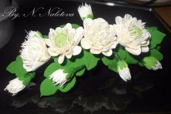 """""""Свадебные цветы"""" легкая заколка с цветами ручной работы из японской полимерной глины."""