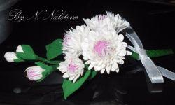 """Брошь """"Нежность"""". Цветы ручной работы из  японской полимерной глины. Очень легкая. В наличии. Возможно исполнение в любом цвете."""