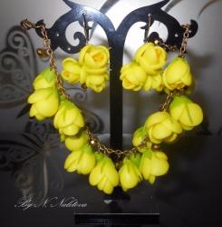 """Комплект: браслет и серьги """"Лето"""" Цветы ручной работы из полимерной глины В наличии"""