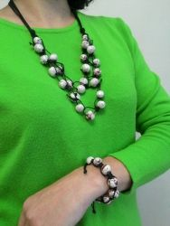 Ожерелье из бусин, авторская керамика, можна  с браслетом   (комплект 250 грн)