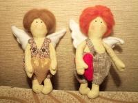 Купидончик в стиле Тильда. Текстильная игрушка изготовлена с любовью и дарит любовь.  Высота 22-23 см.