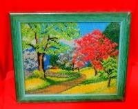 Картина вышитая Чешским бисером в деревянной рамке под стеклом.