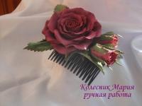 Украшение для волос Роза с бутонами (основа на выбор)