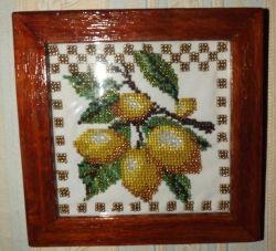 Картина из бисера - Лимоны с деревянной рамкой, 35грн