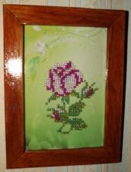 Картина из бисера - Роза с деревянной рамкой, 35грн