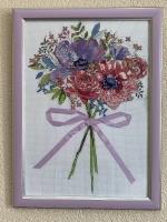 Картина вышивка ручная работа « Flowers and Lace» (Цветы и кружево), размер 27х37 ( в раме), размер вышивки 22х32), канва Aida 14, вышивка в 2 нити, лента. Стекло антибликовое