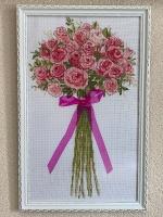 Картина вышивка ручная работа «Roze Bouquet» (Букет роз»), размер 30х47  (в раме), размер вышивки  25х42, Design Works (USA), вышивка крестом в 2 нити, канва Aida 14, бисер Чехия, лента. Стекло антибликовое