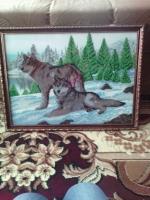 Картина бисером Волки.