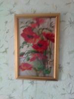 картина Маки вышита бисером. оформлена. работа в рамке для вашего декора и интерьера.