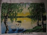 """""""рассвет"""" та """" зимний лес""""- часткова зашивка чешським бісером ,обидві по 600грн"""