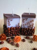 Кофейные свечи в росписью ручная работа
