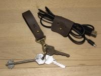 Комплект - шкіряний брелок на ремінь та органайзер для навуш