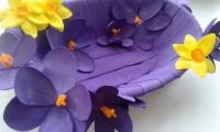 """Конфетница / Фруктовница """"Фиолет"""" - авторская ручная работа. Из фоамирана (пластичная замша), основа - пластик. Длина - 28 см, ширина 18 см, высота 7 см. Станет ярким позитивным акцентом любого интерьера!"""