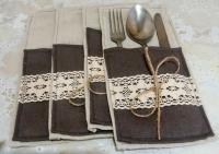 Конверт для столових приборiв стане у нагодi при оформленнi столу, виготовлене з тканин