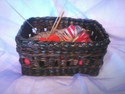 корзинка для рукоделия из бумажной лозы, цвет-дуб,