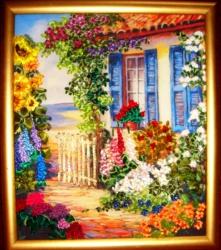 """Картина""""Крымский дворик"""" вышита на качественном принте атласными лентами и бисером. Подарите этот сюжет своим близким или любимым, я уверенна, что солнечное, радостное настроение картины создаст уют и комфорт в доме её владельца...."""
