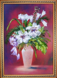 Картина выполнена атласными лентами на качественном принте. Украсит интерьер Вашего дома, очень подойдёт для гостиной или прихожей, а может стать подарком для любимых и близких людей!...