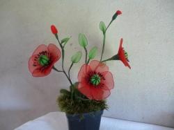 цветок из капрона. Маки