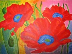 Картина нарисована акриловыми красками, изображены маки. Очень яркая и позитивная!