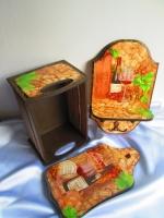 """Набор для кухни """"Wine"""": доска разделочная, вешалка, ящик"""
