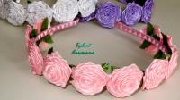 Ободки для маленьких и больших принцесс. Основа: металлический обруч шириной 0,8мм. оплетён в две ленты, полностью украшен розами сшитыми вручную.  На выпускные , на праздники, на каждый день, на подарок, для фотосессии.