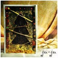 """Красивая золотистая открытка с ёлочкой Красивая мужская открытка """"раскладушка"""" с двумя створками. Больше открыток тут: https://vk.com/otkryitki_juju https://www.facebook.com/jujumagiccards Открытки Ju-Ju приносят счастье!"""