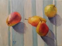 """Картина маслом на полотні """"Натюрморт з грушами"""" роміром 40 см на 30 см"""