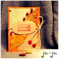 Красивая осенняя крафт-открытка с листьями