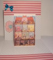 Открытка ручной работы,изготовлена из дизайнерского картона и дизайнерской бумаги,размер 21х43 см
