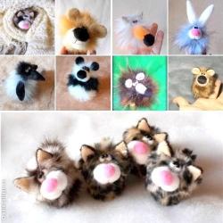 Маленькие зверушки выполнены в виде напёрстков. Материал -искусственный мех. Симпатичные артисты и просто милые сувениры.