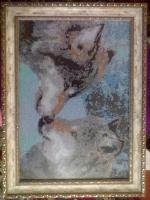 Очень красивая дорогая рамка под старину,антибликовое стекло, чешский бисер,очень красивая картина