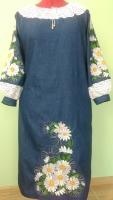 Платье вышито на тонкой джинсовой ткани , кружево - лён . Цена указана за р.44-46 На заказ вышью за 10-14 дней .