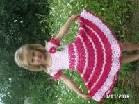 """Виготовлю на замовлення чудове святкове плаття. На вік 5-6 років. Спідниця  сонце. Об""""єм грудей 56-58см, довжина спідниці 38 см. Нитки - 100 % хлопок. Термін виконання -10 -14 днів. Кольори можемо підібрати на ваш смак. Прикраса знімається. За бажанням можна виготовити шляпку. Можу виготовити менший розмір, ціна менша (уточняти при спілкуванні особисто)."""