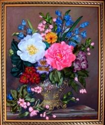 Картина вышита на качественном принте атласными лентами и бисером. Ваши именинники будут рады такому подарку на юбилей. Эксклюзивно, необычно и красиво!!!!!!......