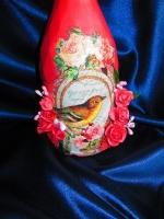 Празднично оформленная бутылка - подарок ручной работы